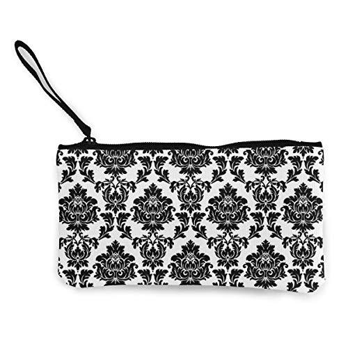Frauen und Mädchen Schwarz und Weiß Klassische Blumen Floral Leinwand Geldbörse Mäppchen Brieftasche für Bargeld Bank Auto Passport Coin