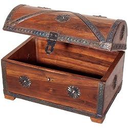 Baúl de pirata para almacenaje, de madera.