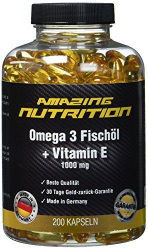 Omega 3 Fischöl 1000mg + Vitamine E - Essentiell Für Den Menschlichen Körper Und Gut Für Das Herz-Kreislauf-System - 200 Kapseln - 6 Monatsvorrat - Made in Germany -
