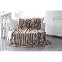 Brandsseller - Luxury Bed Blanket Throw Throwover Bedspread Bedcover - Faux Fur optics on both sides - Size: 220x240 cm - color: taupe/grey