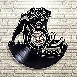 JGcabin Horloge Murale De Disque Vinyle Super Multi-Style De 12 Pouces, Cadeau pour Les Amateurs De Vinyle Beau Chien a 30 * 30 * 0.2cm...