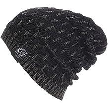Cebbay Liquidación Gorros de Punto Hombre Unisex cálido Crochet Invierno Suave Capa Interna Sombreros y Gorras