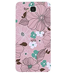 FUSON Multi Colored Flowers Sketch 3D Hard Polycarbonate Designer Back Case Cover for Huawei Honor Holly 2 Plus :: Huawei Honor 2 Plus
