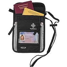 Portadocumenti da collo con protezione RFID per uomo e donna | Custodia ampia e piatta per il torace | Custodia da collo leggera per la massima sicurezza di smartphone e documenti da viaggio