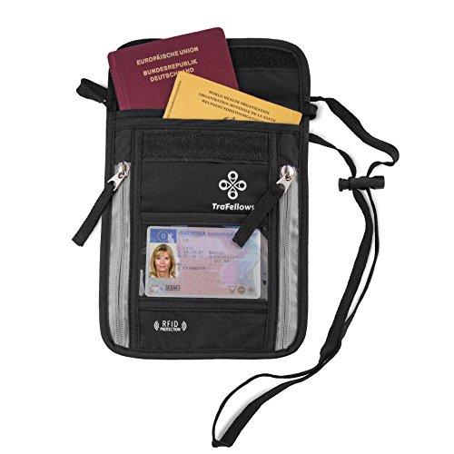 Portadocumentos cuello para viajar | Monedero colgante con bloqueo RFID para hombre y mujer | Cartera de colgar al cuello de calidad | Bolsa de colgar para máxima seguridad para móvil y documentos
