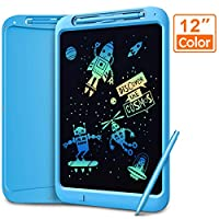 LCD Writing Tablet, Coovee 12 Inch Digital Ewriter Electronic Graphics Tablet Portable Mini Board Handwriting Pad Drawing Tablet with Memory Lock Suitable for Kids Home School Office (Colorful)