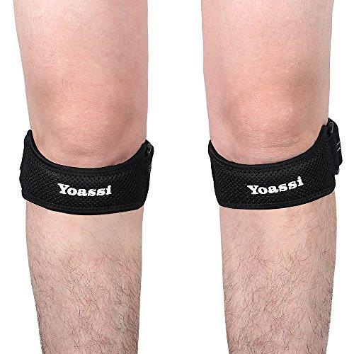 Preisvergleich Produktbild Yoassi - 2 x Patella Band - Hochwertig Patellasehnen Bandage Sport Entlastung zum Laufen,  Wandern und Fußball in schwarz - Einheitsgrösse