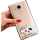 Sunroyal® PC Funda Transparente para Huawei Ascend G8/Huawei Ascend G7 Plus Bling Diamante Funda Protector Bumper Slim Case Cover with Bling Diamond Caja Protectora Ultra Delgado Crystal Cubierta Caso de Parachoques de Carcasa