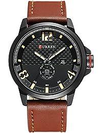 57bea8d2e265 2017 nueva banda de marrón de piel auténtica Curren reloj de pulsera de  cuarzo para hombre relojes primera marca…