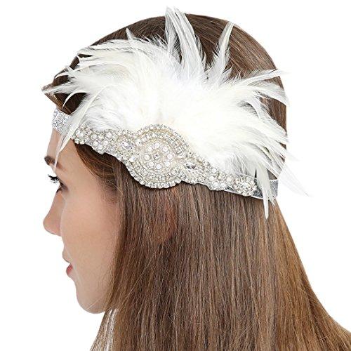 Paillettes argent clapet serre-tête perles et strass bandeau avec plume blanche Style A