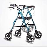 XQY Sedia per Riabilitazione Medica, Sedia a Rotelle, Sanità Pieghevole in Alluminio Walker Healthcare, Carrello Vintage Walker, Vecchio Stile Scooter a Quattro Ruote Pieghevole