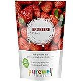 Reines Pulver aus gefriergetrockneten Erdbeeren in veganer Rohkostqualität, ideal für Shakes, Smoothies, Joghurt, Eis, zum Kochen oder Backen, 120g Pulver entsprechen ca. 1Kg frischen Früchten
