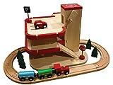 Woody Holz Parkhaus / Auto Garage mit Zug und Schienen 23 Teiliges Set