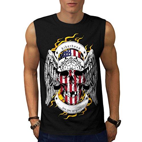 Schädel Motorradfahrer Kopf Gesicht USA Herren M Ärmellos T-shirt   Wellcoda (Basketball-gesicht Schild)