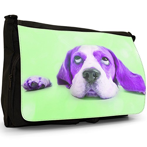 Stelle nel Beagles 'occhi – Borsa Tracolla Tela Nera Grande Scuola/Borsa Per Laptop Purple Beagle Looking At Stars