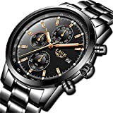 LIGE Relojes Hombre Impermeable Acero Inoxidable Analógico Cuarzo Relojes Clásico Negocios Negro Automática Fecha Relojes