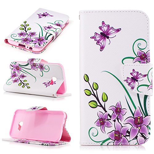 Samsung Galaxy J3 (2017) Cover Case Custodia,Samsung Galaxy J3 (2017) Cover Flip,Samsung Galaxy J3 (2017) Custodia Pelle,Cozy Hut ® Elegante Morbido Soft PU Leather Pelle Slim Flip Stand Stare in Pied Pink Butterfly Flower