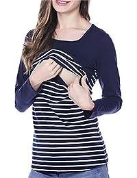Anguang Mujer Cuello Redondo y de Lactancia Camiseta de Rayas Empalme para Lactancia