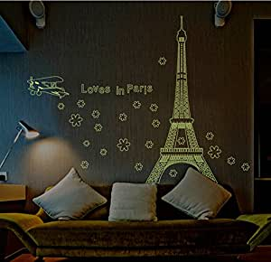 elecmotive paris leuchtende eiffelturm abnehmbare f r wohnzimmer schlafzimmer wandaufkleber. Black Bedroom Furniture Sets. Home Design Ideas
