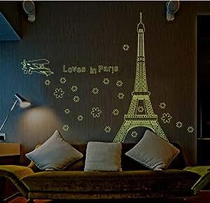 Elecmotive paris leuchtende eiffelturm abnehmbare f r - Leuchtende wandtattoos ...