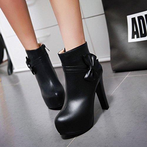 Mee Shoes Damen mit Schleife Plateau runde high heels Stiefel Schwarz jpM3z2