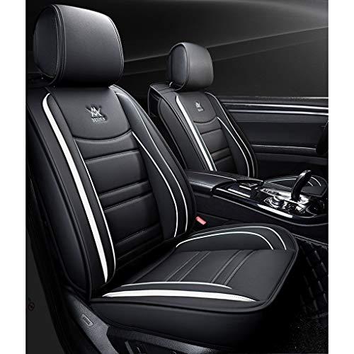 vorderer und hinterer 5-Sitzer-Komplettsatz, Universal-Leder, Vier Jahreszeiten, kompatibel mit Airbag-Sitzprotektoren, wasserdicht. (Farbe : Weiß) ()