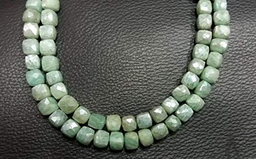 Silver Cube (Earth Gems Park Super Fine Quality Gems Jewelry 1 Strands Natural Amazonite Silver Coated Faceted Cube Briolette - Amazonite Faceted Box Beads - Beads 6-7mm 8