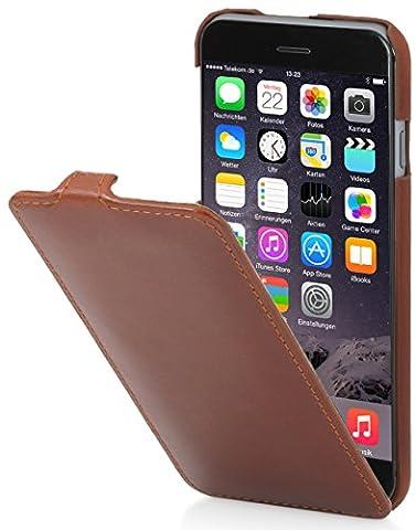 StilGut UltraSlim Case Hülle Leder-Tasche für iPhone 6. Dünnes 360 Grad Flip-Case vertikal klappbar aus Echtleder für das Original iPhone 6 (4,7 Zoll), cognac