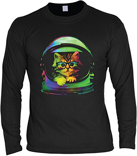 Herren Langarmshirt mit Motiv: Space Kitten - Katzenmotiv - Geschenk - Pullover, Pulli - Farbe: schwarz Schwarz