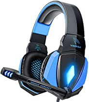 YINSAN Cuffie Gaming PS4, Cuffie da Gioco con Cavo USB Audio Jack da 3,5 mm, Cuffie Over Ear con Microfono Luc