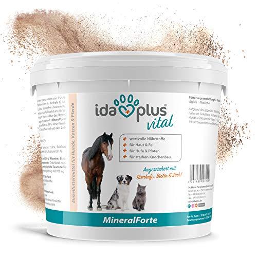 Ida Plus - Mineral-Forte 2 kg als Pulver - Mineralien für Pferd, Hund & Katze - gut für Fell, Haut, Knochenbau und Horn-Struktur - natürlicher Kieselgur angereichert mit Bierhefe, Biotin & Zink Fell, Horn