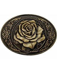 Hebilla de cinturón Oval Flower Rose Belt Buckle Cowgirl Rodeo Floral Buckles