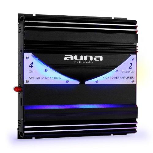 Auna AMP-CH02 - Ampli auto hybride bridgeable 1 ou 2 canaux de 190W RMS avec effets LED (20Hz-20kHz, Entrée RCA/Line, 2x sortie pour enceinte)