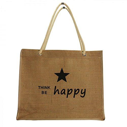Shopping-et-Mode - Sac shopping en toile de jute Happy - Beige, Toile de jute
