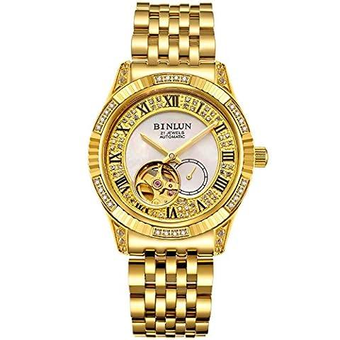 binlun Gents Bling Gelb Gold-Plating Japan automatische Mechaniker Armbanduhr, Durchmesser 3,9cm