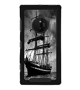 Fuson Designer Back Case Cover for Nokia Lumia 830 (Ship Voyage Bon Voyage In Seas Black And White)