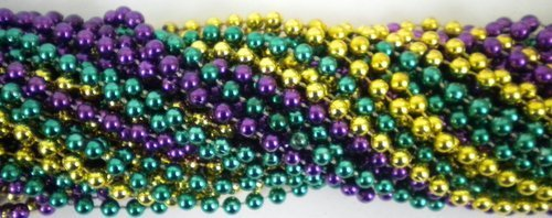 33 inch 07mm Round Metallic Purple Gold and Green Mardi Gras Beads - 6 Dozen (72 necklaces) by Mardi Gras Spot