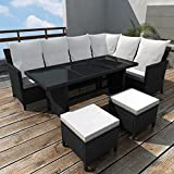 Festnight Poly Rattan Garden Sofa Set Corner Sofa Lounge Set Sectional Wicker Furniture 19 Piece Black