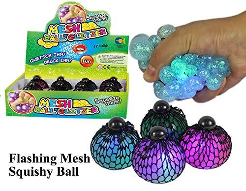 Fun Trading Mesh Ball 6 cm Glitzer mit Licht und tollem Glitzereffekt 4 Stück 4