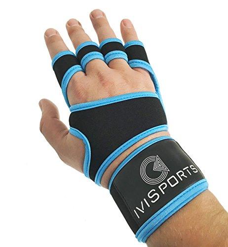 IVISPORTS Cross-Training-Handschuhe mit Handgelenk Unterstützung für Fitness, Workout, Gewichtheben mit Rutschfestem Silikon Polster Passt Männer & Frauen, blau, Large