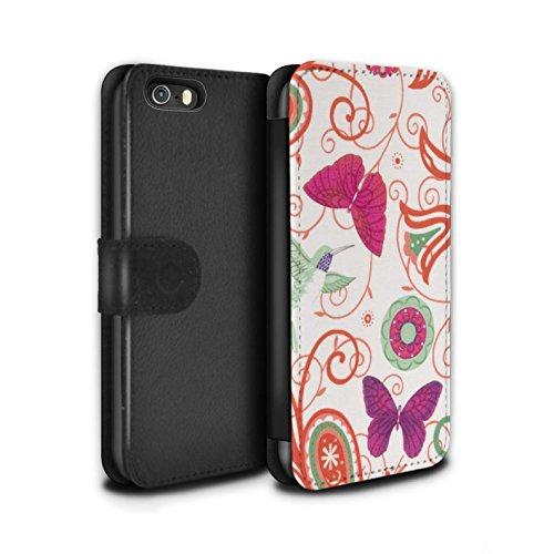 Stuff4 Coque/Etui/Housse Cuir PU Case/Cover pour Apple iPhone SE / Pack 12pcs Design / Printemps Collection Rouge/Rose