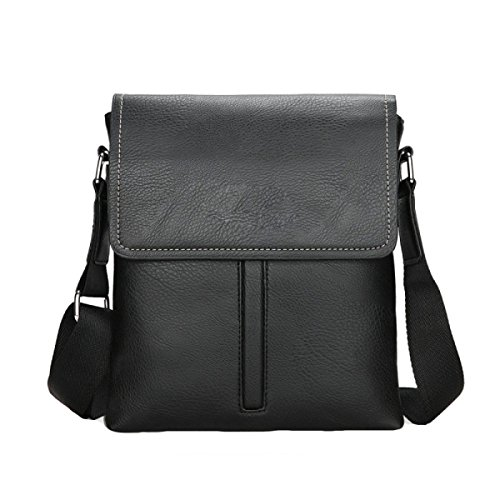 Männer Schultertasche PU Messenger Bag Neutral Retro Einfache Business Bag Black