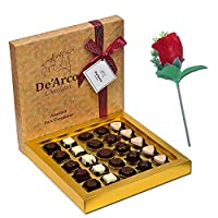 De'Arco Chocolatier Chocolates Valentine Day Gift for Girlfriend Boyfriend Husband Wife, Premium Luxury Chocolates, 25pcs + Free Rose