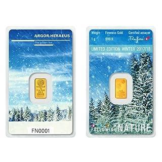 1g Argor Heraeus Goldbarren 1 Gramm 9999 Feingold mit Zertifikat Winter Following Nature