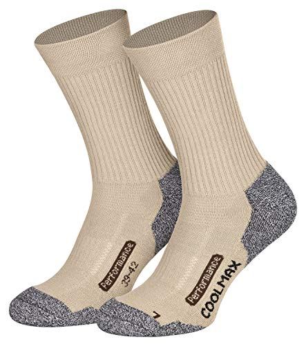 Piarini 2 Paar Coolmax Wandersocken Outdoorsocken Funktionssocken lang beige 39-42