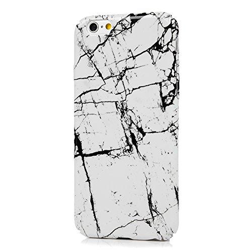 Badalink iphone 6S 6 Hülle Voll-Fenster Schutzhülle Bunt PC Cover Handyhülle Hardcase Schale Pink Rosa Breite Streifen Muster Hülle Marmor Marmorieren