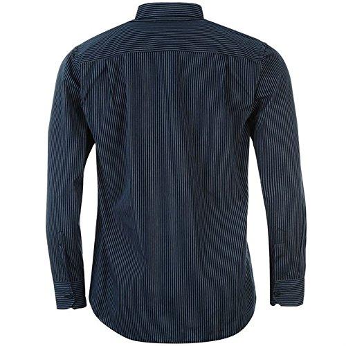Pierre Cardin Herren Langarm Shirt Knopfverschluss Top Smart Freizeit Hemd Marineblau Streifen