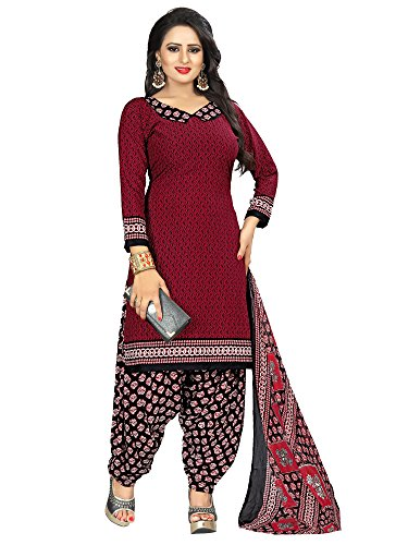 Applecreation crepe dress material for women (unstitched dress material_Maroon_PJM41_Free Size)