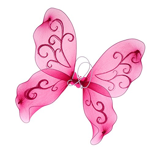 Sharplace Verschiedene Farben Flügel für Fee oder Schmetterling Kostüm, Cosplay Mottoparty und Karneval für Mädchen - Rose (Mädchen Rosa Rose Fairy Kostüme)