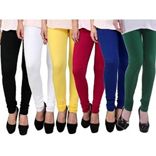 Krystle Women|Girls Cotton Multi Colored Legging Pack Of 5 ( Black/White/Yellow/Red/Navy/Green )